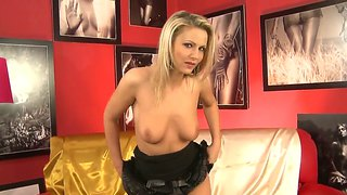 Horny Blonde Whore Samantha Joly Pleasures Herself