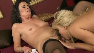 Kitty Cat Is Being Fucked By An Old Whore And Her Naughty Tongue