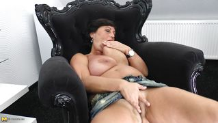 Brunette Mature Licking Her Own Love Juice.