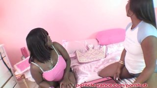 Ebony Lesbian Coeds Eat Pussy And Fuck With Strap On Cock