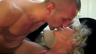 Blonde Granny With Extremely Hairy Brunette Pussy Fucking With Neighborhood Boyfriend