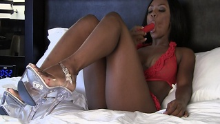 Ebony Babe Fucks Her Tight Ass With Dildo