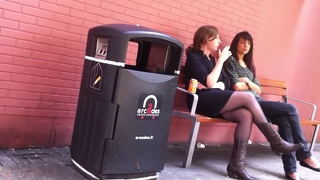 Crossed Legs In Pantyhose And Cowboy Boots Smoking