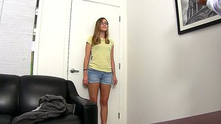 Nerdy Looking Amateur Amber Sucks Cock