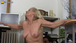 Old Granny Fucks Young Student At Work