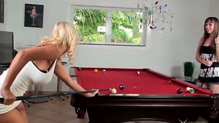 Capri Anderson And Molly Cavalli Play Pool And Strip