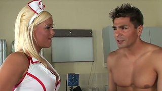 Sexy Booby Nurse Crista Moore Helps Her Patient Sergio To Enlarge His Cock!