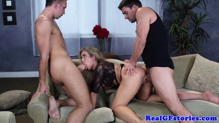 Big Titted Blonde Girlfriend Threeway Fun