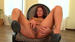 Dirty Dark Haired And Tanned Angelique Masturbates On Chair