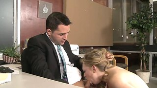 Busty Blonde Lady Relaxes Her Boss At The Launch Break.