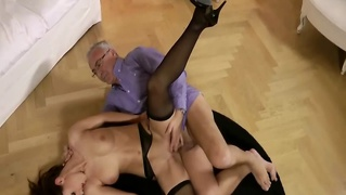Brunette Babe Gets Fucked By An Old Man
