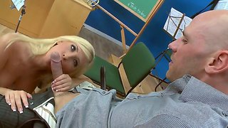 Johnny Sins Gets To Deep Fuck Blonde Hottie Tasha Reign While At School