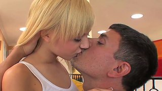 Sugary Blonde Hottie Emma Mae Is A Young Cock Lover And Her Mature Partner Welcomes Her To Ride His Boner