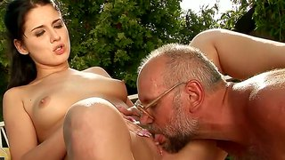 Young Brunette Deborah Black Fucked By Old Fart