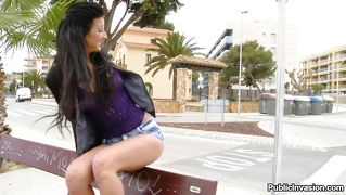 Slutty Latina Goes Down On A Guy In Public
