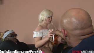 Partying Blonde Creampied By 3 Bbc