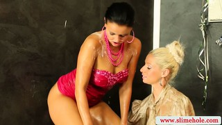 Classy Lesbians At The Gloryhole Getting Drenched