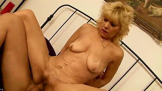 Amateur Granny Irene Gets A Young Cock In Her Hairy Pussy And Mouth