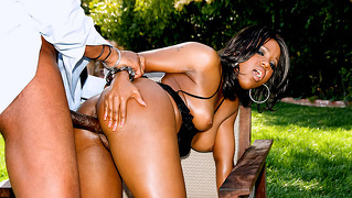Sexy Black Bombshell Loves Gaging On A Gigantic Black Dick!