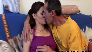 Old Guy Fucks Slim Brunette !!