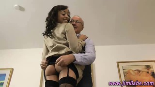 Ebony Amateur In Stockings Fucked