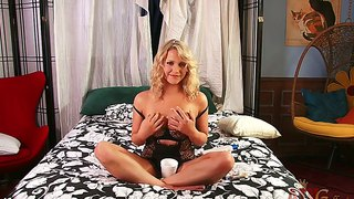 Arousing Blonde Mia Malkova Drinks Coffee In Bed