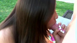 Arial Rose Sucks And Gets Pounded Wild Outside