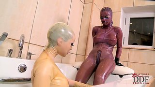 black angelica toying ass in latex