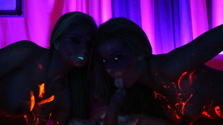 Penny Flame And The Mff Threesome In Neon Lights