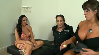 Young Guy Gets Oral From Alura Jenson And Megan Foxx
