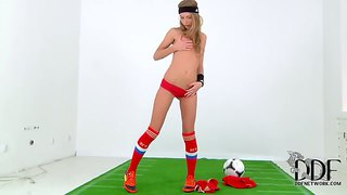 Sexy Girl Anjelica In Football Uniform Dance Striptease.