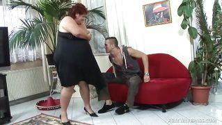 Obese Housewife Tastes Hunk Neighbor's Dick