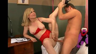 The Milf Nina Hartley With The Young Alec Knight On The Sofa