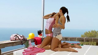 Two Brunette Lesbians Maria And Monica Lick Outdoors