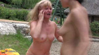 Old And Young Amateur Lesbians In Public