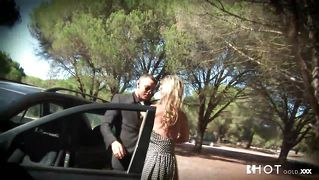 Blonde Sucks Cock Against The Car