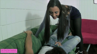 Young Teen Ballbuster In Pantyhose Ballbusting Cbt Tease