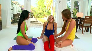 Fantastic Lesbian Yoga Party Staring Amber Cox,mercedes Lynn And Zoey Monroe.
