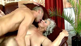 Neighborhood Granny Norma Gets Her Old And Hairy Pussy Fucked And Licked By A Young Boyfriend