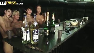 A Bunch Of College Kids Play Pool In The Nude