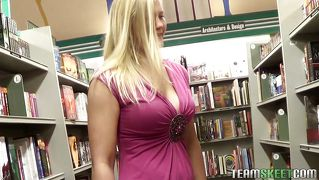 Bookworm Babe Shows The Goods And Sucks Some Cock