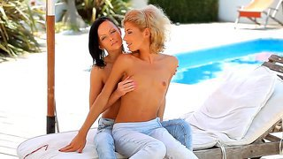 Amazing Lesbian Chicks Melanie B And Stephanie At The Pool