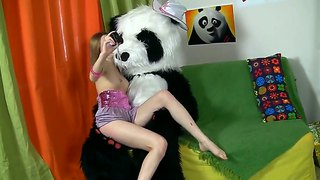 Cute Teen Tani Playing Hard With Her Toy Panda Bear