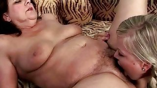 Granny And Teen In Sensual Lez Action