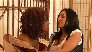 Curly Misty Stone Along Zoe Britton A Gorgeous Brunette Are Having A Great Lesbian Show Toghether