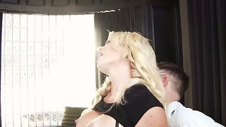 Gorgeous Blonde Intern Gigi Allens Enjoys Sucking On A Throbbing Pecker Before Taking A Wild Ride On It