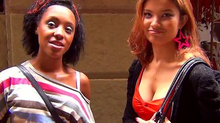 Two Slutty Girls Flashing Their Tits In The Street