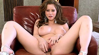 Emily Addison Pleasures Herself On Leathery Chair
