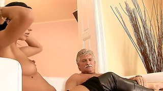 Naughty Brunette Shalina Divine Enjoys Older Guy And Makes Him Cum In Her Mouth