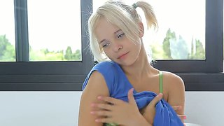 Horny Blonde Teen Monroe Plays With Her Body On Bed